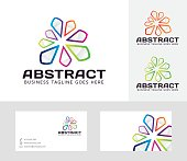 Abstract vector logo with business card template