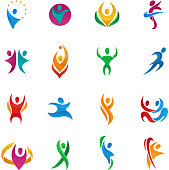 Abstract vector people silhouette teams and groups human figure shapes  icons concept design graphic characters set vector illustration.