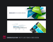 Abstract vector set of modern horizontal website banners with colourful triangle shapes, abstract shapes for construction, teamwork, tech, communication. Clean web headers design.