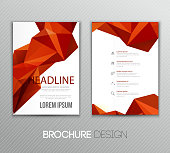Abstract vector template design, brochure, flyer, page, leaflet, with colorful geometric triangular backgrounds