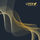 3D Abstract vector wavy background. Dynamic golden flowing effect
