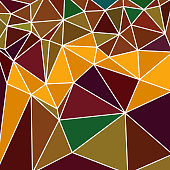 triangular multicolor abstract stained glass grid with white outline in shades of orange, yellow, brown, green and other