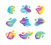 Vector illustration of abstract different colored bright blots set.