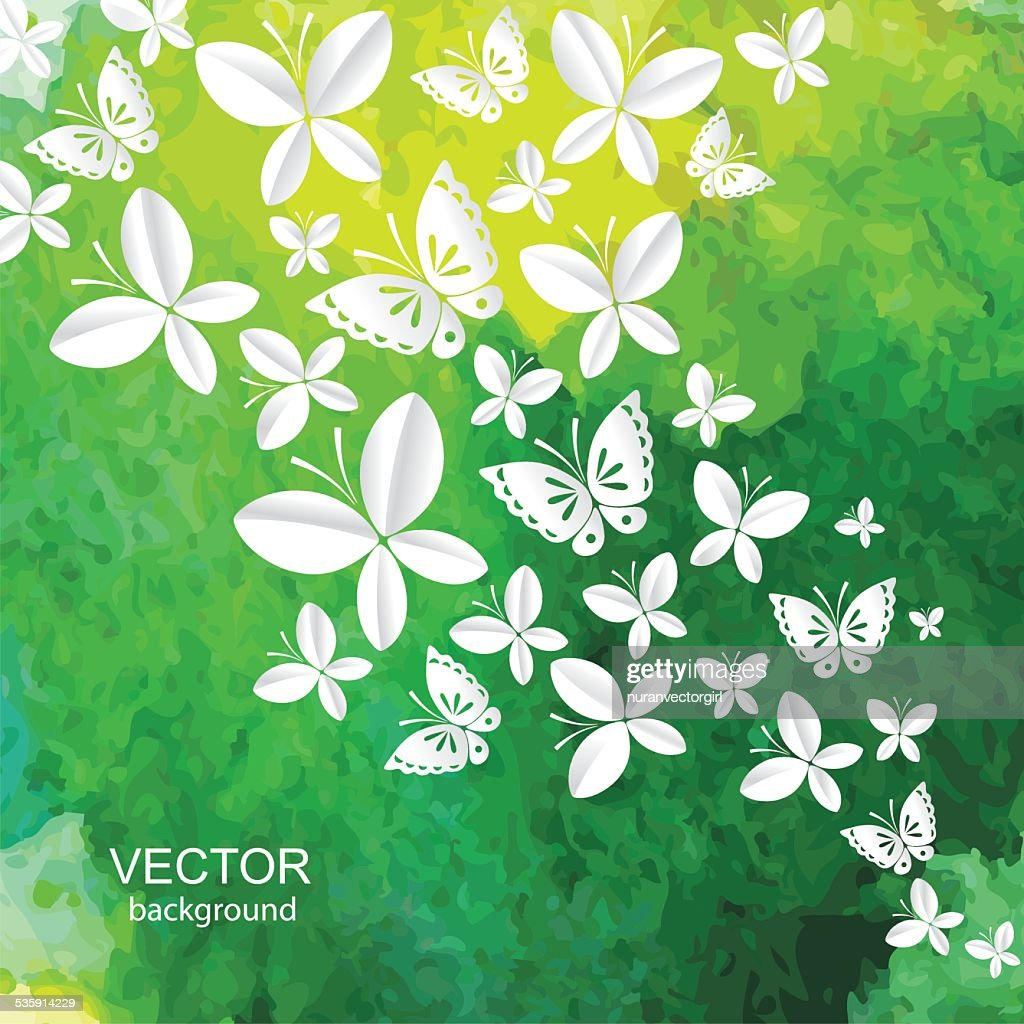 Abstrato Fundo de aguarela com papel insectos. Vector. : Arte vetorial