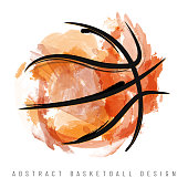 Abstract watercolor basketball ball on white background - vector illustration