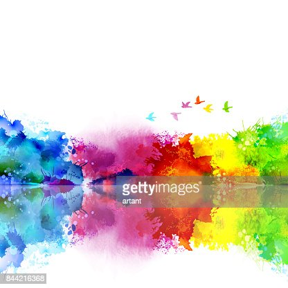 Abstract Watercolor fantastic landscape with a flying flock of birds. Calm lake created colored blotches and spots. : Vector Art