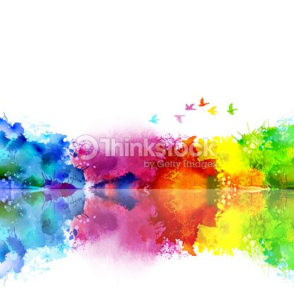 Abstract Watercolor fantastic landscape with a flying flock of birds. Calm lake created colored blotches and spots. : stock vector