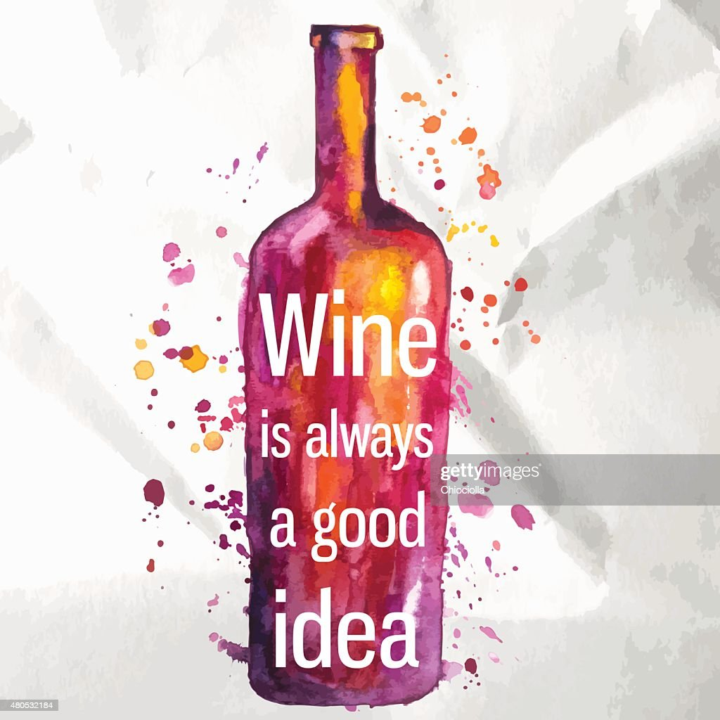 Abstract watercolor wine bottle with splashes of paint and text : Vectorkunst