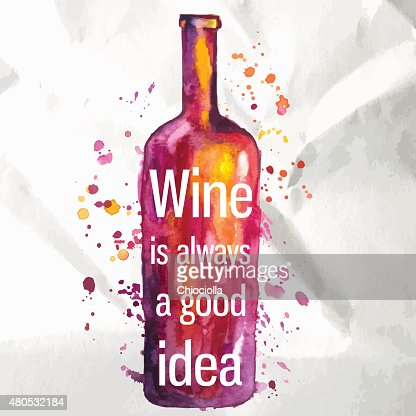 Abstract watercolor wine bottle with splashes of paint and text : Vector Art