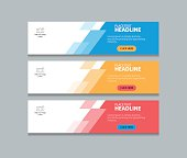 three color abstract web banner design template background