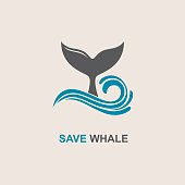 design with abstract symbol of whale and sea wave