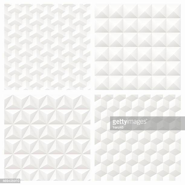 Abstract white 3d paper geometric pattern seamless background