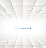 Abstract white tiled background with a perspective. Vector illustration