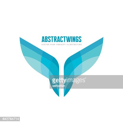 Abstract wings - vector business logo template concept illustration in flat style. Colored design element. : stock vector