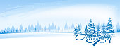 Abstract winter landscape with text Happy Holidays. simple background