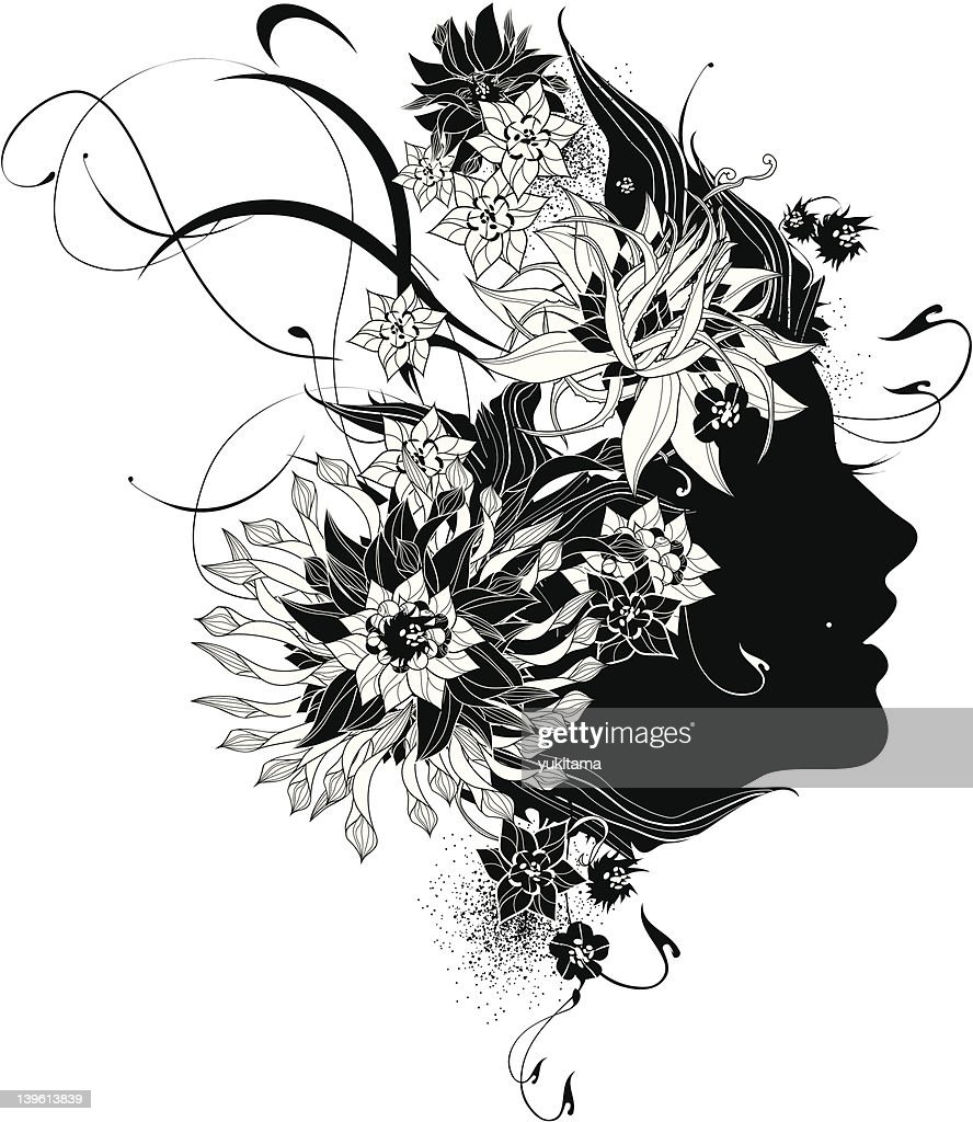 Abstract Women Profile With Flowers Black And White : Vector Art