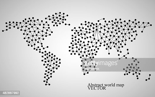 Abstract World Map Molecule Structure Colorful Background Vector