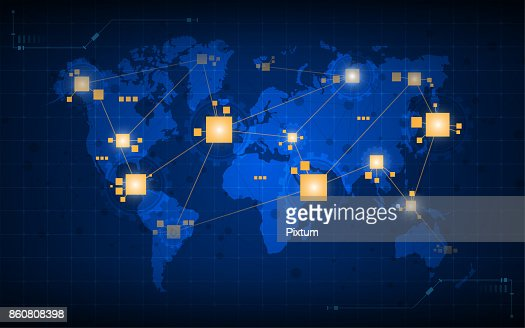 abstract world map networking connection digital tech concept background : stock vector