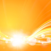 Orange background with smooth lines and fantastic light. Rectangle banner for science. Flow of yellow gradients. Glow light futuristic background. Vector illustration.