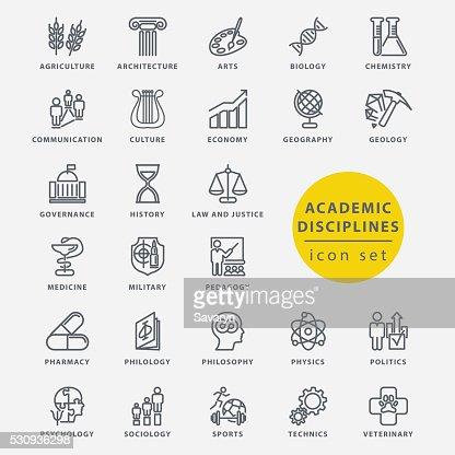 Academic disciplines icon set : stock vector