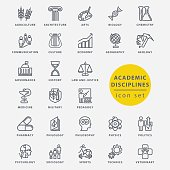 Academic disciplines isolated icon set, vector illustration