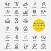 Academic disciplines isolated icon set, vector illustration