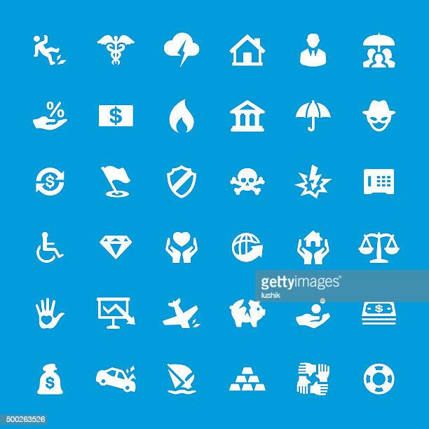 Accident And Insurance Themes vector icons set