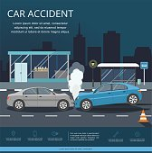 Accident with two cars on the road. Transporation Infographic. Night city