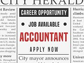 Accountant career - job classified ad vector in fake newspaper.