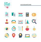 Accounting, paperwork, statistics and more, thin line icons set, vector illustration