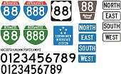 Built using the Federal Highway Administration specifications, these are some of the official style of signs used on US Highways and Interstates.  Included is the correct vectored lettering and number