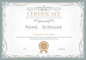 Achievement certificate flourishes elegant vintage vector template