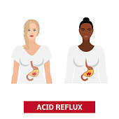 Caucasian and afro woman with acid reflux disease. Vector heartburn concept