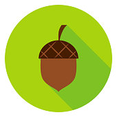 Acorn Circle Icon. Vector Illustration. Nature Object.