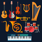 Musical instruments icons with flat symbols of drum set, acoustic and electric guitars, violin, synthesizer, saxophone, trumpet, harp, ancient lyre and horn. Art, culture, musical entertainment concep