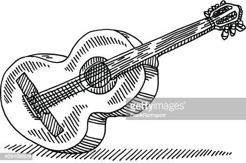 acoustic guitar drawing vector art