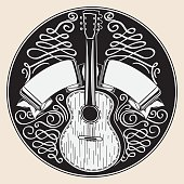 decorative monochrome emblem, vector artwork
