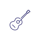 Acoustic guitar line icon. concept. Vector illustration can be used for topics like