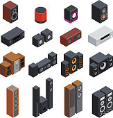 Acoustic highly detailed isometric set vector graphic illustration design. Audio systems multimedia woofer design. Loudspeaker entertainment electronic device.