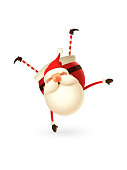 Acrobat gymnast cute Santa Claus vector illustration  - isolated on white background