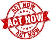 act now round grunge ribbon stamp