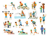 active family father and son collection, man and boy playing american  football, soccer ball, flying drone, riding bike fishing exercising with barbell in gym, arm wrestling running jogiing front and