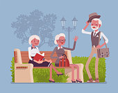 Active seniors in park. Retired elderly people enjoy healthy lifestyle and positive outlook on life, meet friends and relax outdoor, secure social environment. Vector flat style cartoon illustration