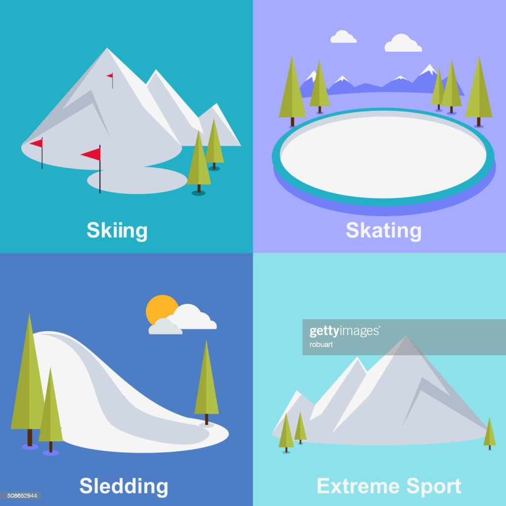 Active Winter Vacation Extreme Sports : Vector Art