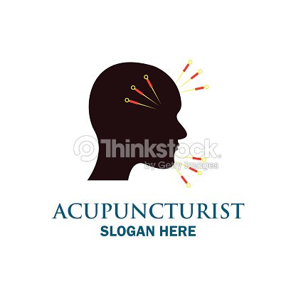 Acupuncture therapy icon with text space for your slogan / tagline, vector illustration