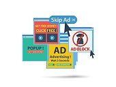 adblock popup web banner concept. isolated vector