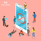 Ad blocking flat isometric vector concept. People surrounded a smartphone with sign of blocked advertisment.