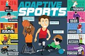A vector illustration of Adaptive Sports Disabled Athletes Infographics