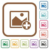 Add new image simple icons in color rounded square frames on white background