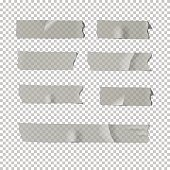 Adhesive tape set isolated on transparent background. Vector realistic element.